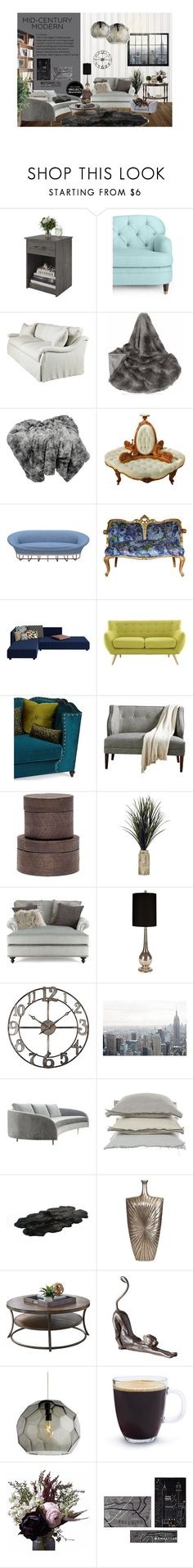 """Mid-Century Modern - Grey Tones"" by madeleinebabes ❤ liked on Polyvore featuring interior, interiors, interior design, home, home decor, interior decorating, Altra, Kate Spade, Lillian August and Cappellini"