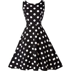 Rotita Vintage 50S Style Black & White Polka Dot Print Swing Dress (70 BRL) ❤ liked on Polyvore featuring dresses, black, vintage polka dot dress, mini dress, trapeze dresses, print dress and sleeveless dress