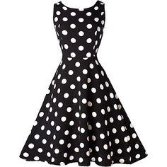 Rotita Vintage 50S Style Black & White Polka Dot Print Swing Dress ($22) ❤ liked on Polyvore featuring dresses, vestidos, black, vintage polka dot dress, mini dress, vintage print dress, a line dress and sleeveless dress