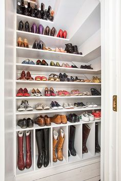This Walk In Closet Used A Slope Ceiling And Created A Fun Place For Boot  And Shoe Storage.