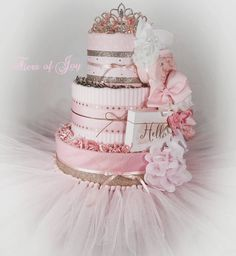 3 TIER PINK & GOLD HELLO PRETTY PRINCESS DIAPER CAKE W/ TIARA | TUTU SKIRT | HANDMADE | BABY SHOWER | CENTERPIECE | ONE OF A KIND |GIFT IDEA