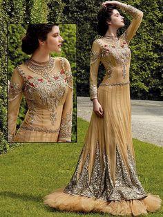 Imaginative beige color #Net #Gown is embellished with zari, resham, kundan work. Item Code: GKDE3503 http://www.bharatplaza.com/new-arrivals/gowns.html