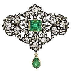 English Victorian Emerald and Diamond Brooch