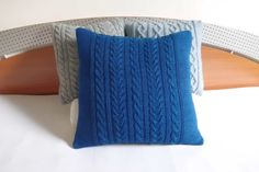 Dark blue knit cotton cushion cover cable knit by Adorablewares