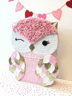 Owl Pinata Mini Pinata Owl birthday Baby by withglitternconfetti