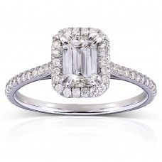 Emerald-Cut Diamond Engagement Ring 1 1/3 Carat (ctw) in 14k White Gold