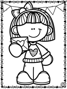 Easy Drawings For Kids, Drawing For Kids, Cute Drawings, Cute Valentines Day Gifts, Valentine Theme, Christmas Coloring Sheets, Back To School Crafts, Clipart Black And White, Child Day