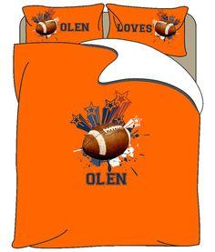 Monogrammed Loves Football Duvet Cover or Comforter by redbeauty