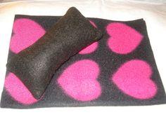 Fleece blanket and pillow set for Barbie Dolls - bbp22. $7.95, via Etsy.