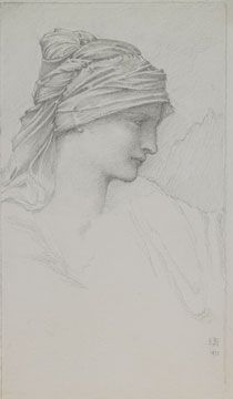 Sketch of a woman's head in profile with her hair covered in fabric which is twists and falls behind her
