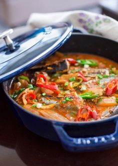 Kimchi stew is one of the most popular Korean dish. Adding a canned Mackerel pike in a kimchi stew will bring an incredible flavor to the most ordinary kimchi stew we know of. Surimi Recipes, Endive Recipes, Korean Dishes, Korean Food, Jjigae Recipe, Jucing Recipes, Mackerel Recipes, Fermented Cabbage, Veggie Snacks