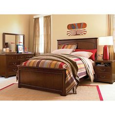 Maxwell Panel Bed in Rustic Cherry