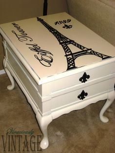 Vivaciously Vintage: Hand painted Eiffel Tower Accent Table