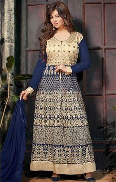 Nice Looking Indian Bollywood Costume Like Celebrity Dresses Online http://www.designersandyou.com/dresses/bollywood-dresses #Nice #Look #BollyWood #Celebrity #Dress #Anarkali #Suit #FullSleeve #Neck #Round #Lace