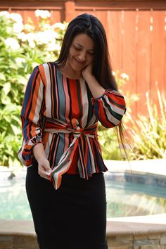 Are you loving the bold stripe trend? This gorgeous top will be available later today! Modest Dresses Casual, Modest Outfits, Classy Outfits, Muslim Fashion, Modest Fashion, Fashion Outfits, Fashion Trends, Cheap T Shirt Dresses, Looks Plus Size