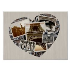 Vintage Style Paris Heart Collage Photography Poster