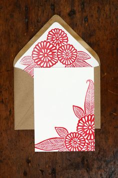 Block Printed Stationery with Lined Envelopes
