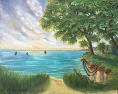(c) Morning at the Bluffs by Marwan Kishek. Oil on Canvas 2016 Oil Paint Brushes, Seascape Paintings, Scarborough Toronto, Oil On Canvas, Ocean, Clouds, Sky, Fine Art, Landscape