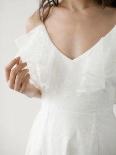 RIANNE GOWN — Davie & Chiyo Ivory Wedding Veils, Lace Wedding, Lace Ruffle, Lace Dress, Bridal Dresses, Chiffon, Whimsical Wedding, Boho, Ethereal