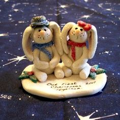 Our First Christmas Together Ornaments BUNNIES #HAFteam #handmade #gifts $10.00