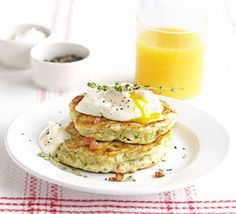 Bacon & parsley hotcakes - the website suggests brunch but we tend to have them for a quick tea with a poached egg. Fodmap Breakfast, Breakfast Recipes, Recipes Dinner, Breakfast Ideas, Dessert Recipes, Desserts, Bbc Good Food Recipes, Cooking Recipes, Free Recipes