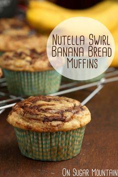 Nutella Swirl Banana Bread Muffins (recipe) - On Sugar Mountain