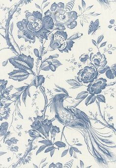 Schumacher Birds of Paradise Blue Fabric SKU - 1048044 Width - Horizontal Repeat - Vertical Repeat - Fabric Content - Cotton Country of Finish - United Kingdom Available colorways View All 1048044 - Blue 202270 - Blue 202273 - Red 202274 - Linen 68 Textiles, Textile Prints, Fabric Wallpaper, Of Wallpaper, Matching Wallpaper, Fabric Birds, Blue Fabric, Art Chinois, Art Japonais