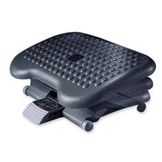 """Tilting footrest provides relief with 15 degrees of range forward and backward and three height adjustments within a 2-1/2"""" range. Platform tilts with easy foot action. Footrest is made of scuff-resistant plastic."""