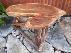 Slab Side Table Reclaimed Wood Table Rustic Wood by WoodzyShop