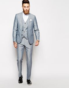 Image 1 of ASOS Slim Fit Blue Suit In Linen