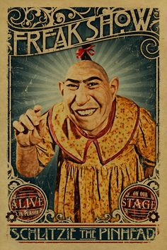 instereo007:  Schlitzie The pinhead poster. Freak show. Freakshow. Circus. Carnival. Side show. Art. Print.