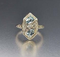 Fine Art Deco 14K White Gold, Aquamarine & Diamond Ring