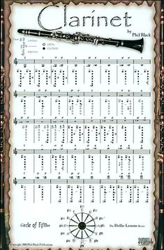 Shop and Buy Instrumental Poster Series - Clarinet from Santorella Publications at Sheet Music Plus: The World Largest Selection of Sheet Music. Saxophone Notes, Clarinet Sheet Music, Music Chords, Lyrics And Chords, Saxophone Music, Bass Clarinet Finger Chart, Piano Lessons, Music Lessons, Instrumental