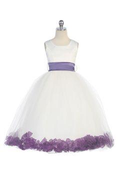 Purple Satin & Tulle Flower Girl Dress with Petals & Sash G2570P $39.95 on www.GirlsDressLine.Com
