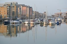 Reflections in Portishead Marina by Albert Peters San Francisco Skyline, Seaside, New York Skyline, Travel, Viajes, Beach, Destinations, Traveling, Trips
