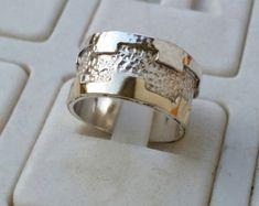 Silver And Gold Wedding Ring Handmade Wedding Band by TalyaDesign Gold Wedding Rings, Bridal Rings, Wedding Ring Bands, Wedding Jewelry, Gold Jewellery Design, Gold Jewelry, Unique Jewelry, Or, Sterling Silver Rings