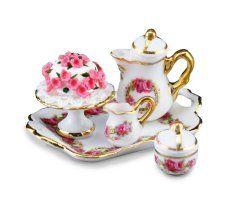 Miniature English Rose Coffee & Cake Set