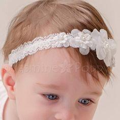 Baby Girl Bianco Sporco BATTESIMO Cerchietto Battesimo Matrimonio Pearl Flower Hairband