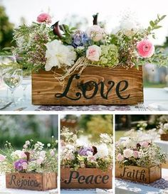"""wooden box centerpieces or other decoration IDEA: have each of the """"love is..."""" From 1 cor. 13 on each box"""