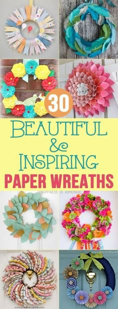 30 Beautiful & Inspiring Paper Wreaths - Happiness is Homemade (homemade holiday wreaths) Paper Wreaths, Wreath Crafts, Diy Wreath, Flower Crafts, Fun Crafts, Diy And Crafts, Arts And Crafts, Crafts For Kids, Geek Crafts