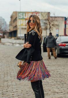 NYFW Street Style: Rainbow Colored Fringe Skirt // More NYFW Street Style Inspiration: http://www.teenvogue.com/gallery/best-street-style-new-york-fall-2016