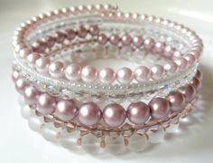 Pink Memory Wire Bridal Bracelet  Stacked por BeaditudeBoutique, $29.00