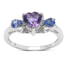 JewelzDirect 925 Sterling Silver Heart Cut Amethyst Ring