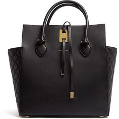 Michael Kors Black Miranda Structured Quilted Side Panel Tote ($1,313) ❤ liked on Polyvore featuring bags, handbags, tote bags, purses, bolsas, totes, leather handbag tote, leather man bags, leather totes and michael kors tote bag