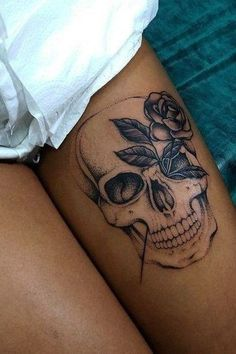 Skull Tattoos for Females: Skull Tattoos are also gaining popularity among women and men. Both sexes like skull tattoos to ink on their bodies. Feminine Skull Tattoos, Floral Skull Tattoos, Skull Thigh Tattoos, Small Skull Tattoo, Skull Tattoo Flowers, Sugar Skull Tattoos, Dope Tattoos, Badass Tattoos, Sleeve Tattoos For Women
