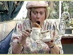 Watching British Comedy is almost like watching the Three Stooges, a lot of laughs with little required in thinking. Keeping Up Appearances: Josephine Tewson British Tv Comedies, British Comedy, British Actors, Bbc Tv Shows, Movies And Tv Shows, Funny Sitcoms, English Comedy, Are You Being Served, Little Britain
