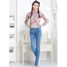 Blue Long Pants Women Autumn Pencil Pants Jean Pants XS/S/M/L/XL/XXL... ($14) via Polyvore