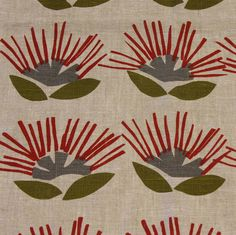 Fabric 'Pohutukawa on linen' by Ingrid Anderson (NZ). We make curtains, cushions, covers etc. Orla Kiely Fabric, Marimekko Fabric, Pansy Tattoo, Kids Line, How To Make Curtains, Japanese Fabric, Colored Paper, Christmas Crafts For Kids, Art Activities