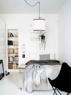 Scandinavian bedroom with open shelving