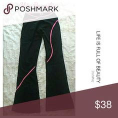 """NWOT Yoga / Active Wear Pants High quality yoga / active wear  pants. Paid $80 at a yoga wear shop in San Diego, but never wore them. Black with hot pink piping. Inseam is 30"""".  90% super polyester and 10% spandex. They hit about mid-hip. Super cute. You'll love them. Mia Brazilia  Pants Boot Cut & Flare"""